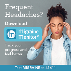 Migraine Monitor ad showing woman with headache pain